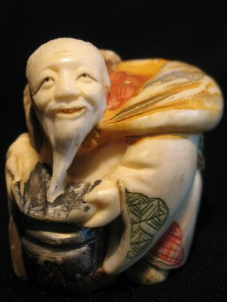 Antique Japanese Ox Bone Polychrome Netsuke By Tamayuki Immortal W.  A Staff photo