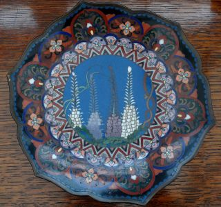 Antique Japanese Cloisonne Enamel Petal Shaped Plate With Flowers photo