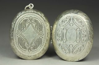 Chinese Old Silver - Plated Wonderful Handwork Carving Heart Photo Box photo
