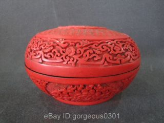 Rare Chinese Red Carved Lacquerware Box photo