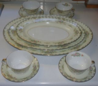 Noritake 6503 Miranda Set Of 3 Plates Platters & Set Of 4 Tea Cups & Saucers photo