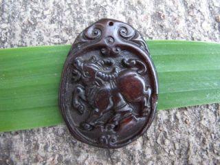 Tibet Folk Classical Jade Stone Carve Auspicious Cattle Fortuna Pendant 303 photo