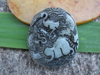 Tibet Folk Classical Jade Stone Carve Auspicious Crane Dragon Pendant 320 photo