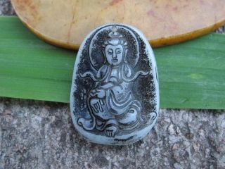 China Folk Classical Jade Stone Carve Auspicious Kwun Yam Pendant 322 photo
