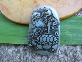 Tibet Folk Classical Jade Stone Carve Auspicious Suzaku Basaltic Pendant 323 photo