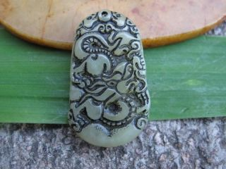 China Folk Classical Jade Stone Carve Auspicious Real Dragon Pendant 328 photo