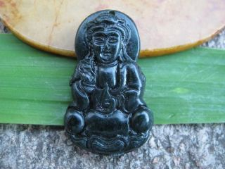 China Folk Classical Jade Stone Carve Auspicious Rescue Kwun Yam Pendant 329 photo