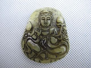 China Folk Classical Jade Stone Carve Auspicious Lotus Kwun Yam Pendant 345 photo