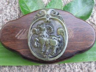 Tibet Folk Classical Jade Stone Carve Auspicious Antelope Pendant 335 photo