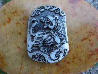 Tibet Folk Classical Jade Stone Carve Auspicious Leopard Tiger Pendant 341 photo