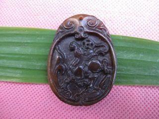 China Folk Classical Jade Stone Carve Lucky Auspicious Horse Racin Pendant 358 photo