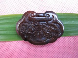 Tibet Folk Classical Jade Stone Carve Auspicious Dragon Phoenix Pendant 367 photo