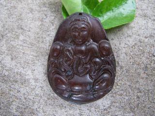 Tibet Folk Classical Jade Stone Carve Auspicious Kwun Yam Pendant 270 photo