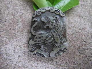Tibet Folk Classical Jade Stone Carve Auspicious Tibet Pendant 279 photo