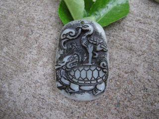 Tibet Folk Classical Jade Stone Carve Auspicious Crane Basaltic Pendant 291 photo