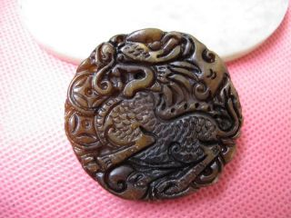 China Folk Classical Jade Stone Carve Auspicious Lucky Kirin Pendant 237 photo