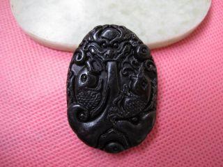 Chinese Folk Classical Jade Stone Carve Auspicious Arowana Pendant 227 photo