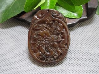 Chinese Folk Classical Jade Stone Carved Auspicious Dragon Pendant 161 photo