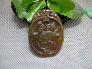 China Classical Jade Stone Hand - Carved Lucky Mouse Zodiac Animal Pendant 192 photo