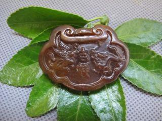 China Folk Classical Jade Stone Carving Long Phoenix Auspicious Pendant 180 photo