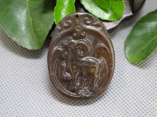 Chinese Folk Classical Jade Stone Carved Zodiac Sheep Lucky Pendant 179 photo
