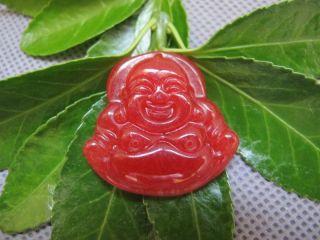 Tibet Folk Classical Jade Stone Carving Auspicious Maitreya Pendant 182 photo