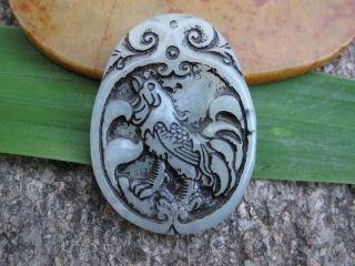 China Folk Classical Jade Stone Carve Auspicious Zodiac Cock Pendant 318 photo
