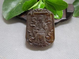 Chinese Classical Jade Stone Carving Auspicious God Wealth Pendants 169 photo