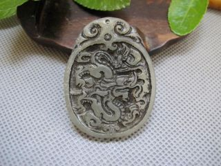 Chinese Folk Classical Jade Stone Carve Auspicious Zodiac Long Pendant 163 photo