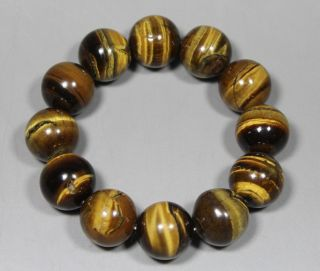Chinese Old Natural Tiger ' S - Eye Wonderful Handwork 12 Bead Bracelet photo