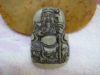 China Folk Classical Jade Stone Carve Auspicious Kuan Kung Warrior Pendants photo