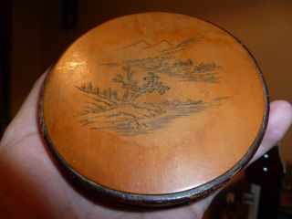 Amazing Japanese Meiji Period Sandalwood Box Of Circular Form Item photo