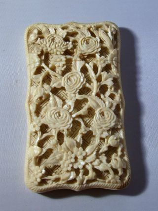 Antique Chinese Canton Hand Carved Visiting Card Case photo