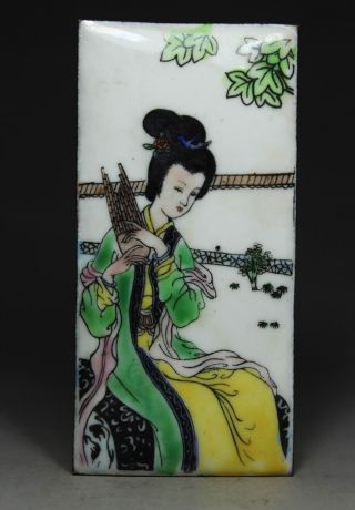 Chinese Handwork Painting Belle Old Cloisonne Decoration photo