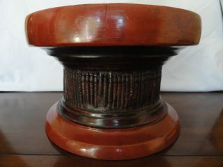 Vintage Asian Pedestal Bowl - - Unique Lacquered Hardwood And Reed Design photo