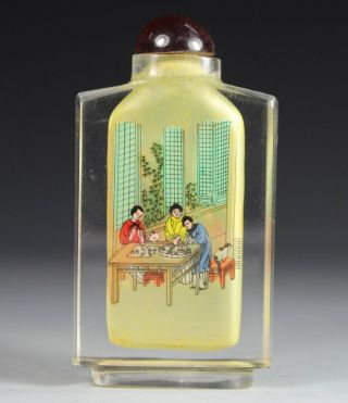 Chinese Handwork Glass Man Belle Flower Old Snuff Bottle photo