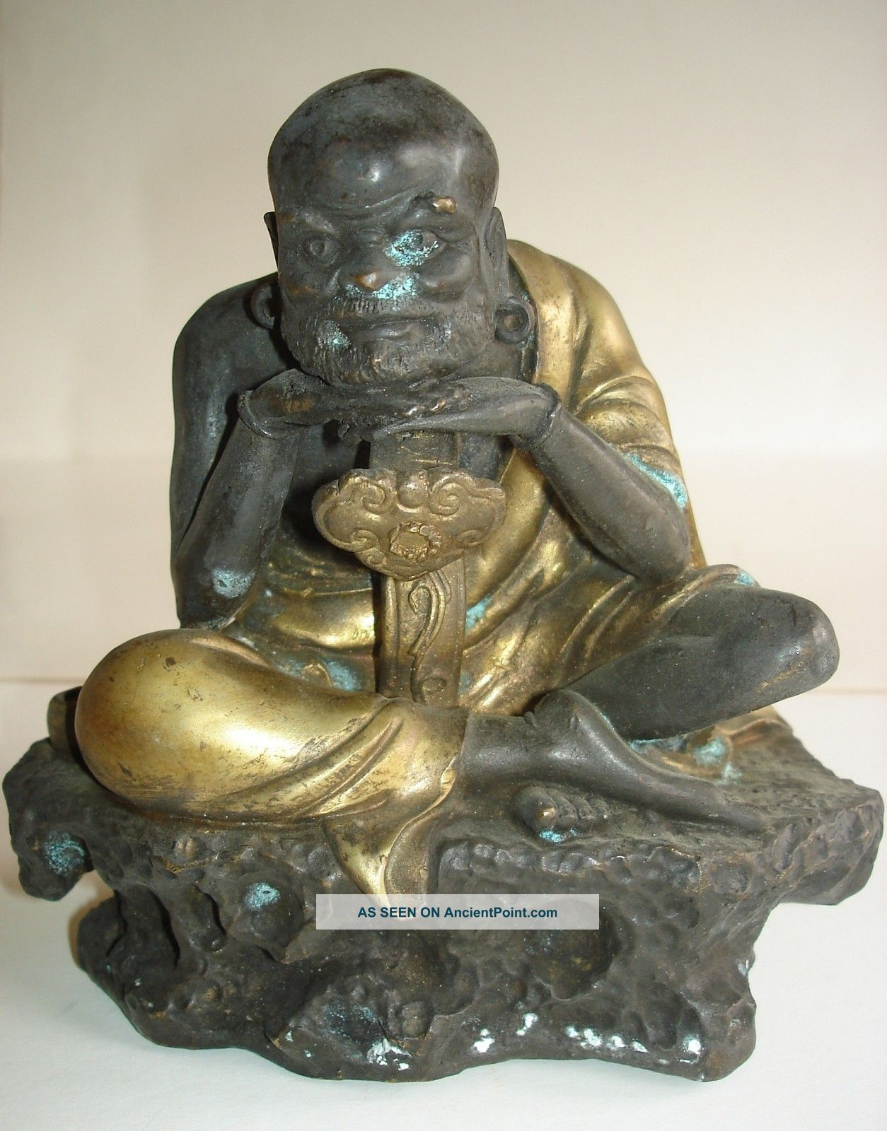 Bronze Chinese Buddah In Lotus Position Buddha photo
