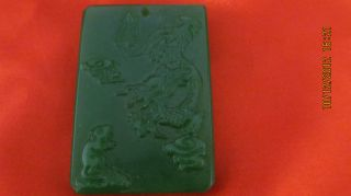 Festive Gift Chinese Green Jade Pendant Dragon Carved Design photo