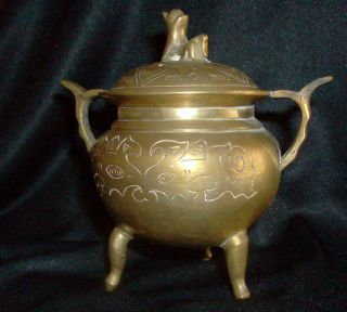 Antique Brass Chinese Incense Burner W/lid photo