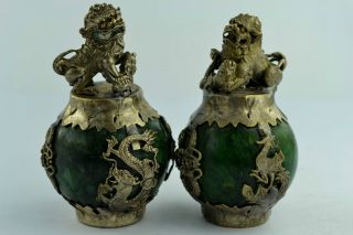 China Rare Collectibles Old Handwork Jade Kylin Pair Statue +++ photo