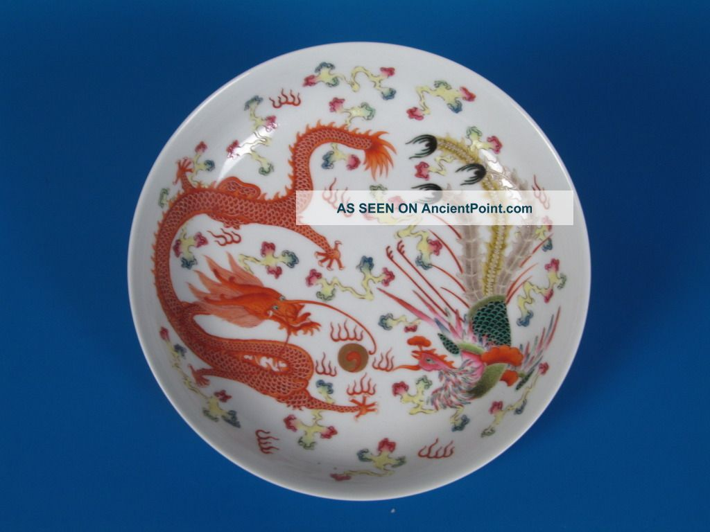 Chinese Rare Pastel Color Porcelain Dragon And Phoenix Plate Plates photo