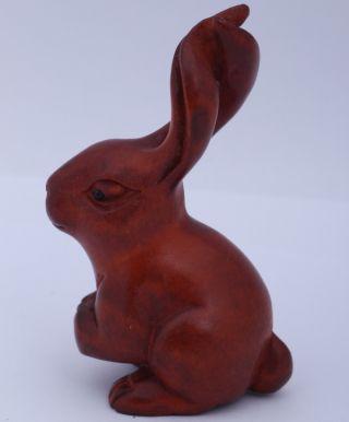 N418:65x40x30mm Japanese Handcraft Boxwood Netsuke A Lovely Rabbit Gift photo