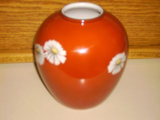 Noritake Nippon Toki Kaisha Red Daisy Japanese Vase photo