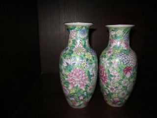 A Fabulous Pair Of Chinese Vases With Peonies And Other Lovely Flowers. photo