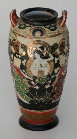 Satsuma Vase 11 Samurai Warriors Faces Gods Gold Moriaga Signed 8