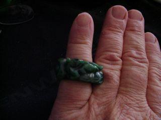 Rare Vintage Carved Dark Spinach Green Jadeite Jade Fox Brings Money Finger Ring photo