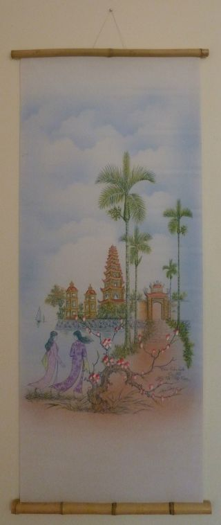 Scroll.  Vietnamese Silk Paintings.  Springtime At The Temple (tran Quoc) photo