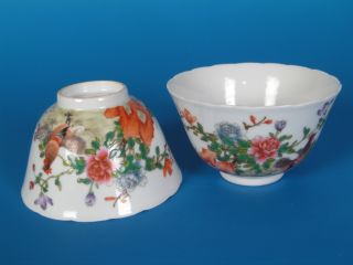 Chinese Rare Pastel Color Porcelain Chicken One Pair Bowls photo