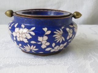 Antique Chinese Cloisonne Enamel Cobalt Color Cigarettes Ashtray Bowl photo