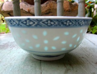 Vtg~chinese Blue/white Porcelain Bowl~china Hand Painted Scene~transparent Rice photo
